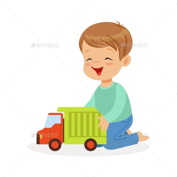 Boy Sitting on the Floor Playing with Truck - People Characters