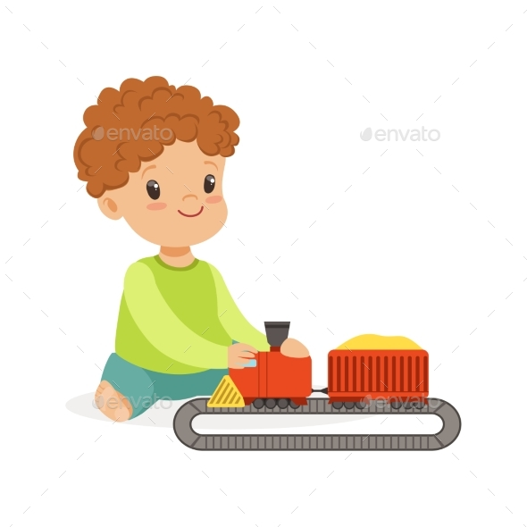 Boy Playing Playing with Toy Railway - People Characters