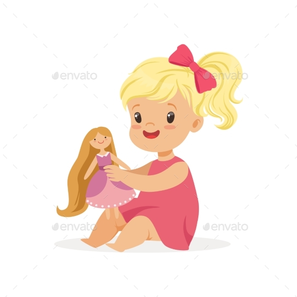 Girl in a Pink Dress Playing with Her Doll - People Characters