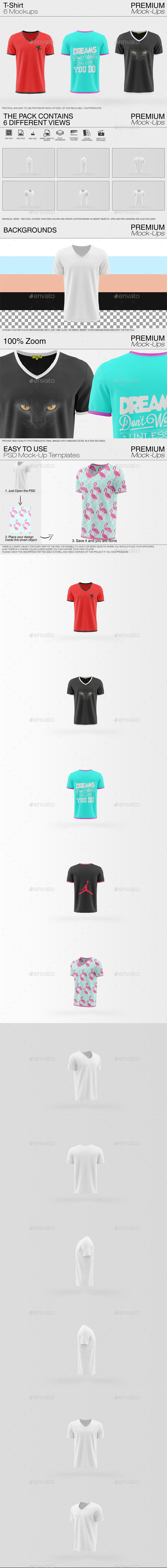 V- Neck T-Shirt Mockup Pack - Print Product Mock-Ups