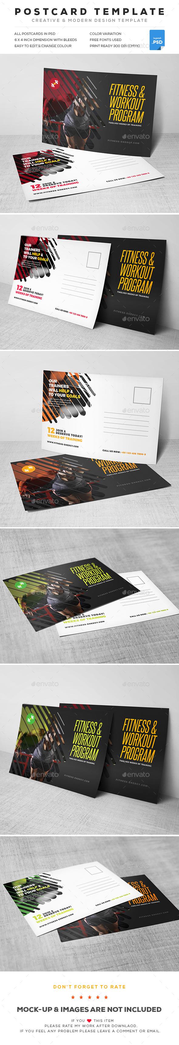 GraphicRiver Fitness Postcard 20392229