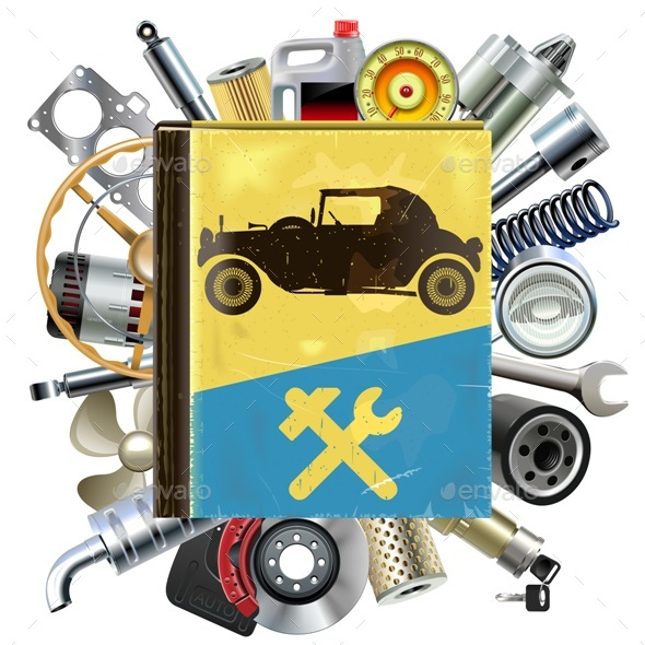 GraphicRiver Vector Old Automobile Repair Book with Car Spares 20392301