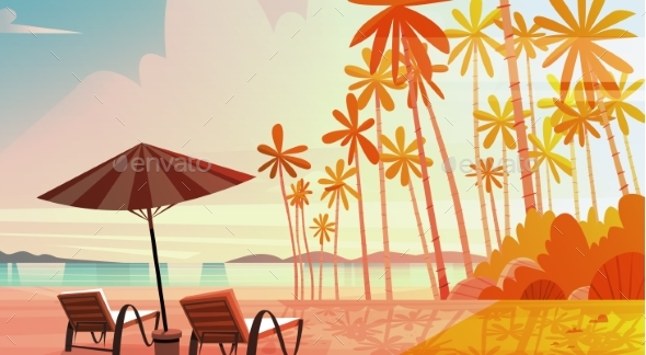 GraphicRiver Sea Shore Beach with Deck Chairs on Sunset 20392656