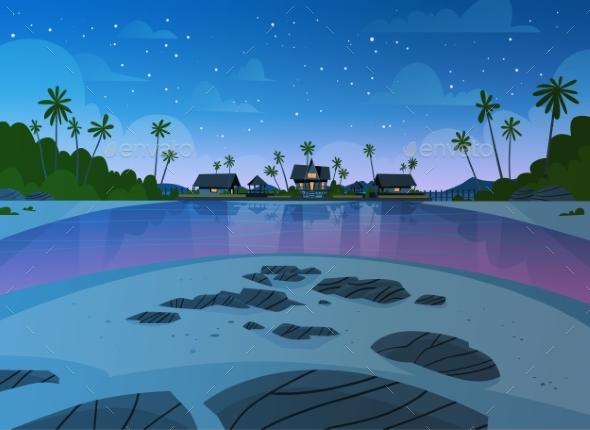 GraphicRiver Sea Shore Beach with Villa Hotel Seaside 20392678