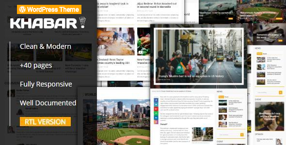 KHABAR - Responsive News Magazine WordPress Theme