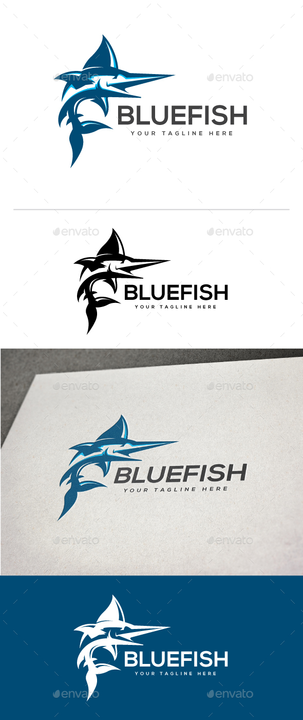 Blue Fish Logo - Animals Logo Templates