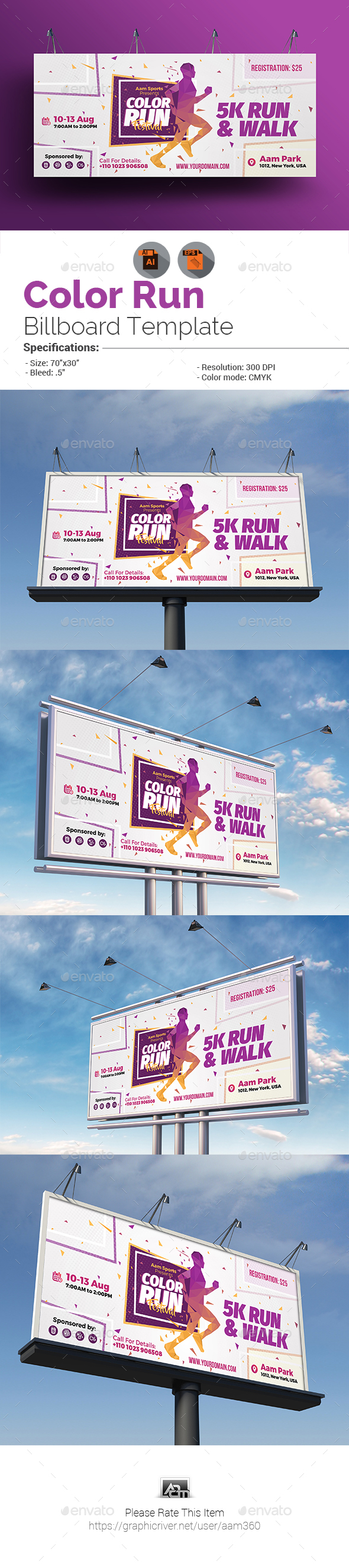 Color Run Festival Billboard Template - Signage Print Templates