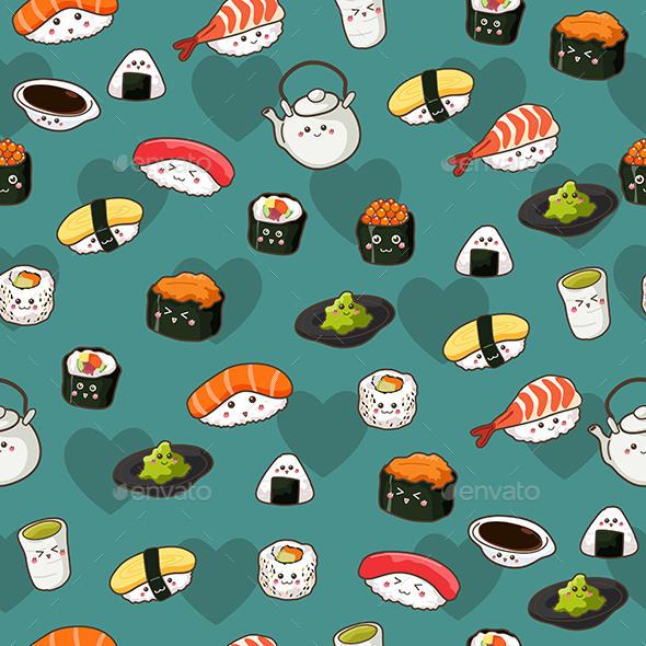 GraphicRiver Seamless Sushi Pattern Wallpaper Background 20392980