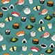 Seamless Sushi Pattern Wallpaper Background