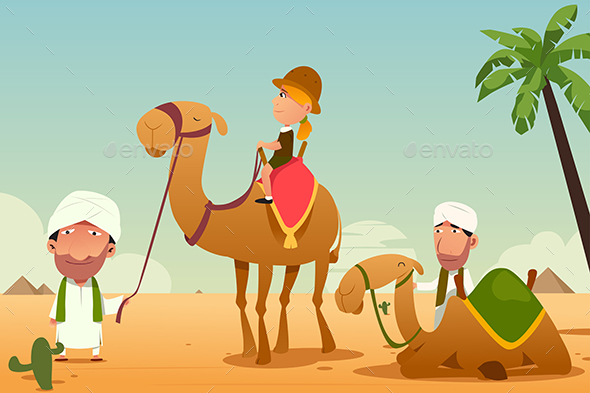 GraphicRiver Female Tourist Riding a Camel in the Desert 20392993