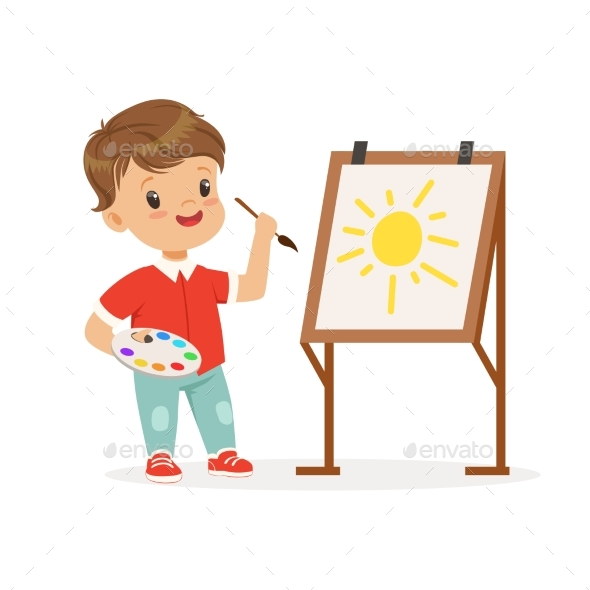 Boy Painting Sun on an Easel - Miscellaneous Vectors