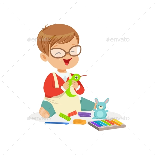 GraphicRiver Boy Making Figures From Plasticine 20393065