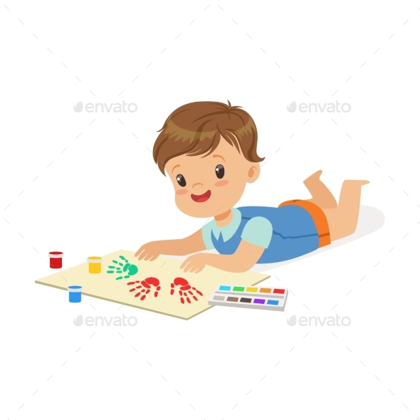 Boy Lying on His Stomach - Miscellaneous Vectors