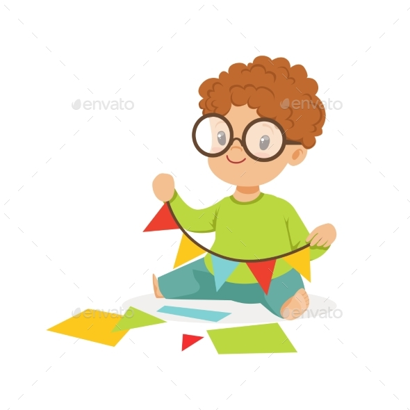 Boy Making a Garland of Pennants - People Characters