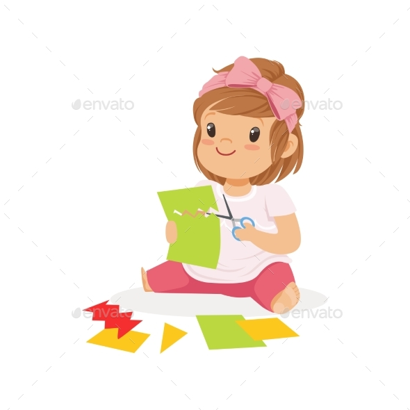 Girl Сuts Paper Application - Miscellaneous Vectors