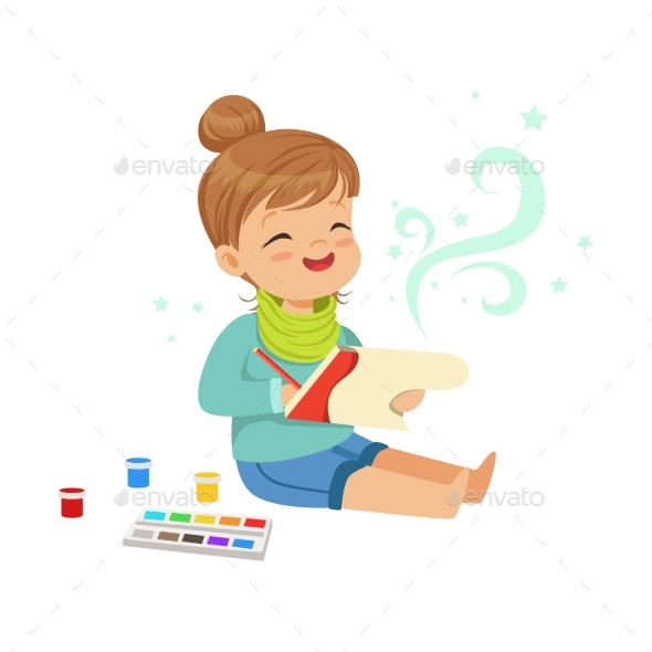 GraphicRiver Girl Drawing with Paints 20393132