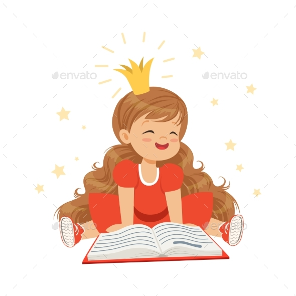 GraphicRiver Girl in a Crown and a Red Dress Reading 20393134