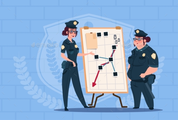 GraphicRiver Two Police Women Planning Action on White Board 20393176