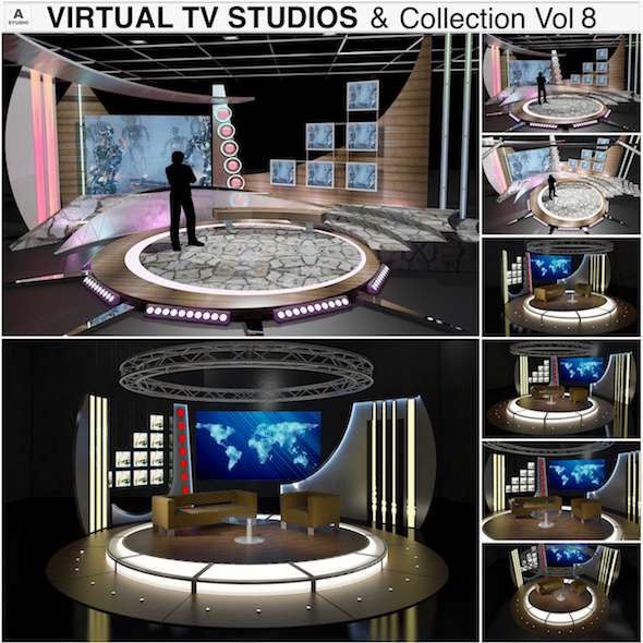 3DOcean Virtual TV Studio Chat Sets Collection 8 20393193
