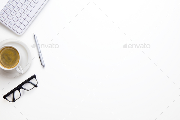 Keyboard With Eyeglasses, Coffee Cup And Pen On White Desk - Stock Photo - Images