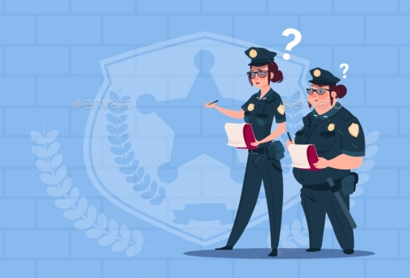 Two Police Women Holding Boxes with Office Staff - People Characters