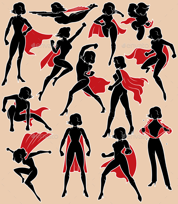 Super Heroine in Action - Characters Vectors