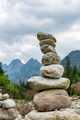 Stones balance, inspiring stability concept on rocks in mountain