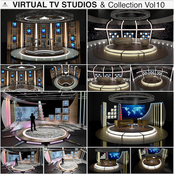 Virtual TV Studio Chat Sets Collection 10 - 3DOcean Item for Sale
