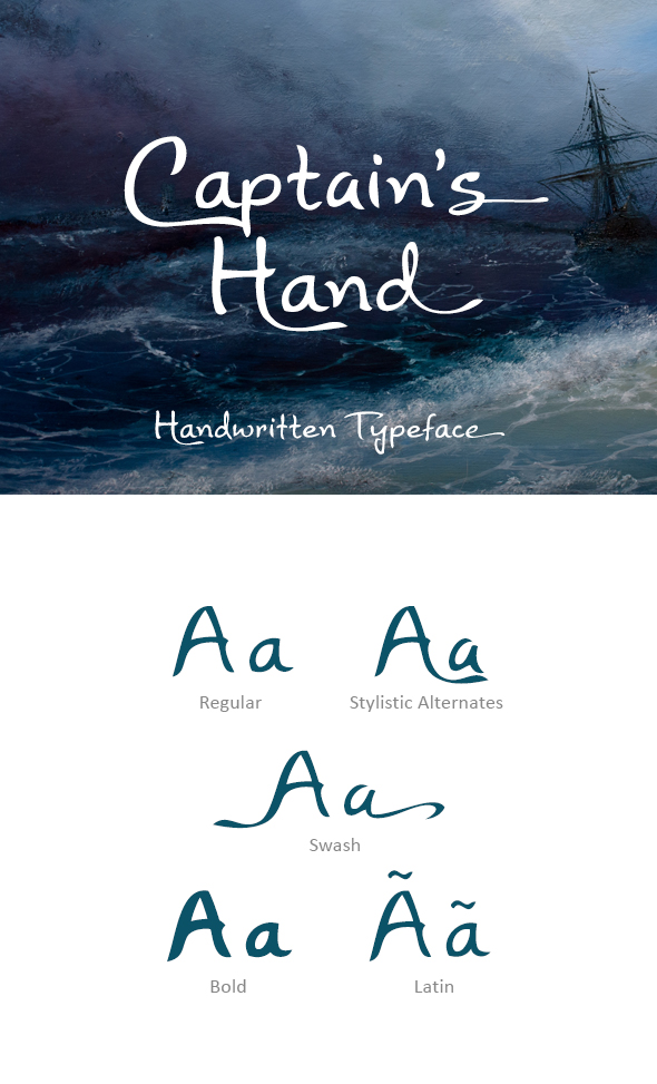Captain's Hand Font - Hand-writing Script