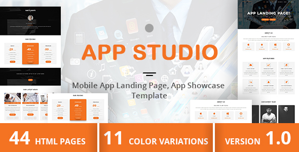 App Studio - Mobile App Landing Page, App Showcase Template