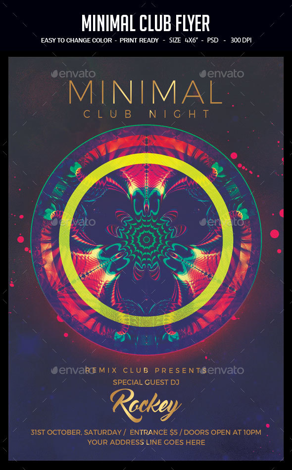 Minimal Club Flyer - Clubs & Parties Events