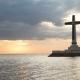 Catholic Cross in the Sea