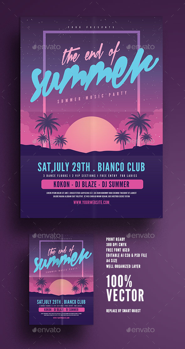 GraphicRiver The End of Summer Party Flyer 20394607