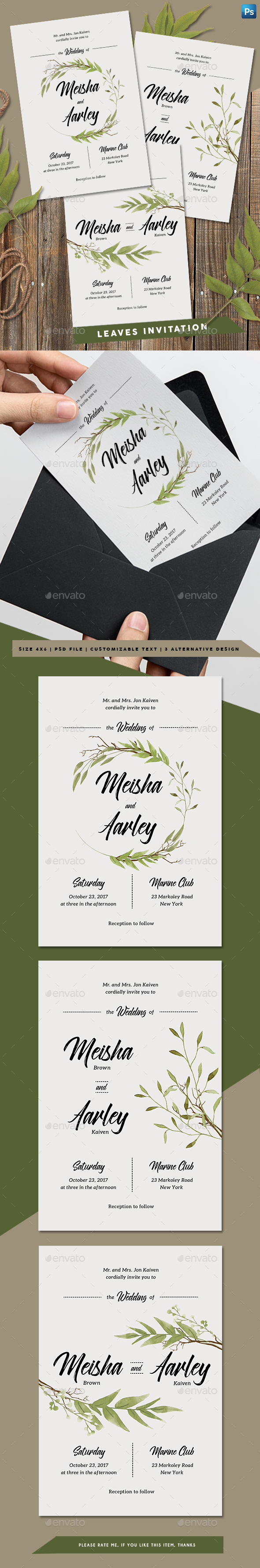 Leaves Invitation - Weddings Cards & Invites