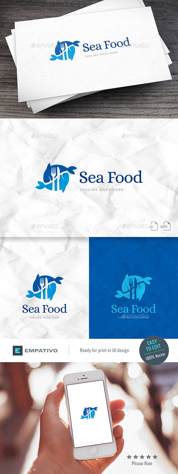 GraphicRiver Seafood Logo Template 20394839