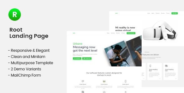 Root Multi Use Landing Page Template