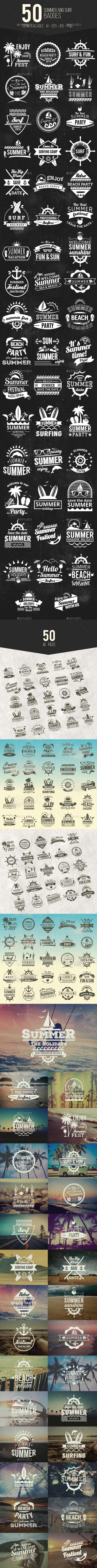 GraphicRiver 50 Summer & Surf Badges 20377576