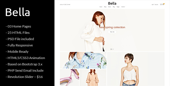 Bella - Responsive Premium Fashion eCommerce and Blog HTML5 Template