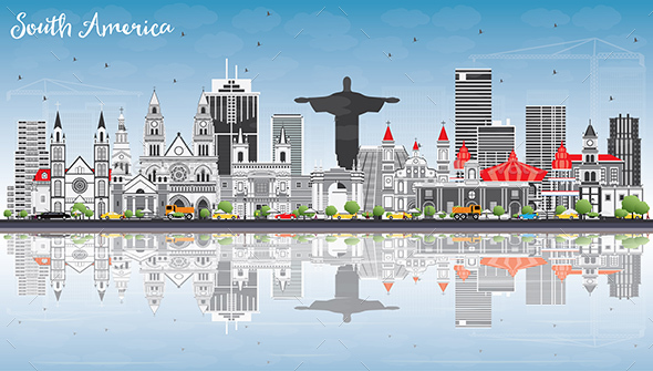 GraphicRiver South America Skyline with Famous Landmarks and Reflections 20394992