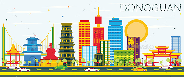 Dongguan Skyline with Color Buildings and Blue Sky. - Buildings Objects