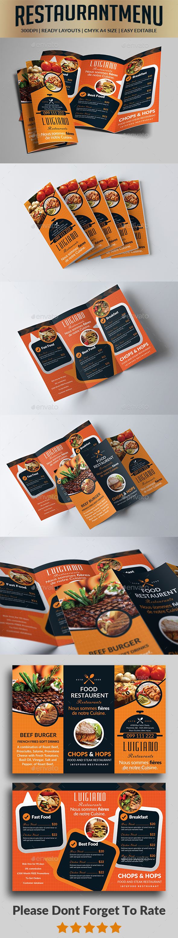Food Menu Trifold Brochure - Food Menus Print Templates