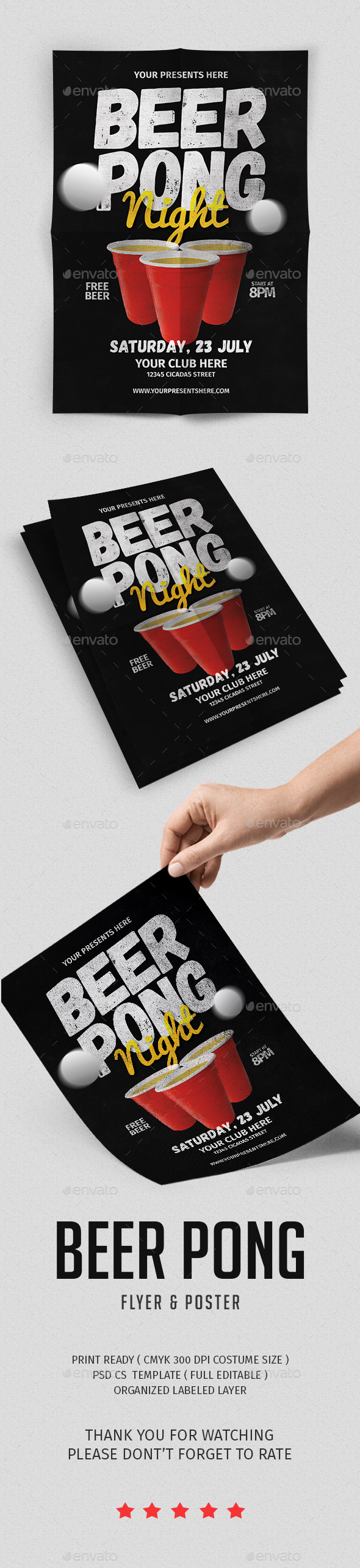 Beer Pong Flyer - Flyers Print Templates