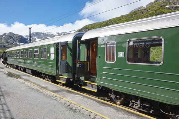 Flam wagon train in Norway. Norwegian tourism highlight. Railway station