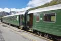 Flam wagon train in Norway. Norwegian tourism highlight. Railway station