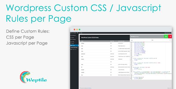 Wordpress Custom CSS / Javascript Rules per Page - CodeCanyon Item for Sale