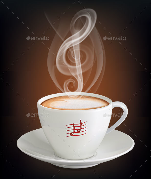 Cup of Cappuccino with a Steam in the Form of a Treble Clef. Vector Illustration - Food Objects