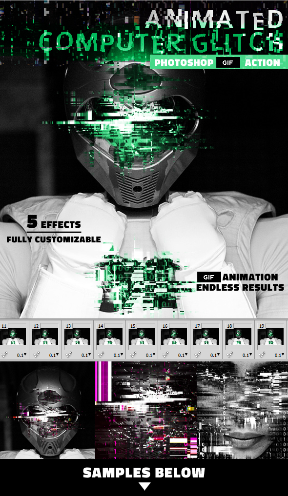 Glitch Animated GIF Computer Error Photoshop Action - Photo Effects Actions