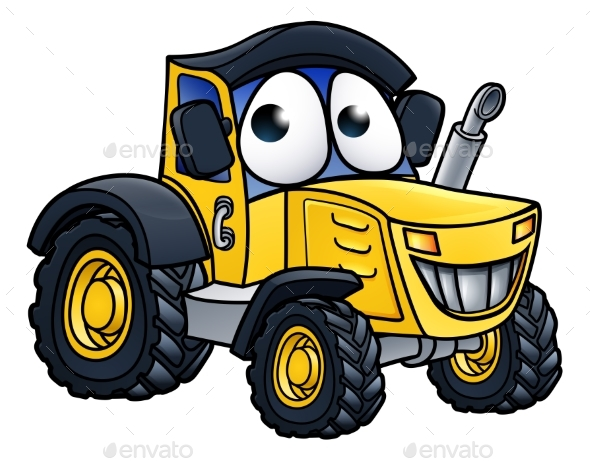 Cartoon Farm Tractor Character - Animals Characters