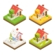 Isometric House 3d Icon Real Estate Symbol Meadow