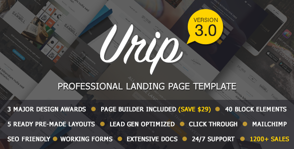 Urip - Professional Landing Page With HTML Builder - Landing Pages Marketing